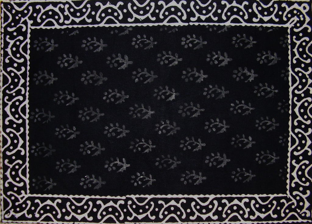"Primitive Hand Block Printed Cotton Table Placemat 20"" x 14"" Black"