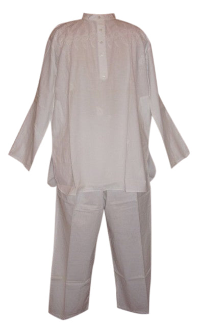 Quality Cotton Kurta Pant Suit Men & Women White 2XL