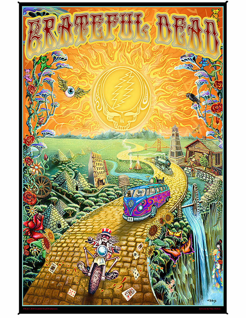 Grateful Dead Golden Road Heady Art Print Tapestry 53x85