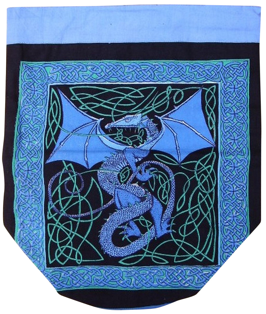 Celtic Dragon Backpack Sturdy Cotton 16 x 18 Blue