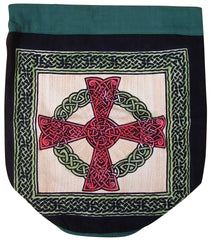 Celtic Cross Backpack Sturdy Cotton 16 x 18 Green
