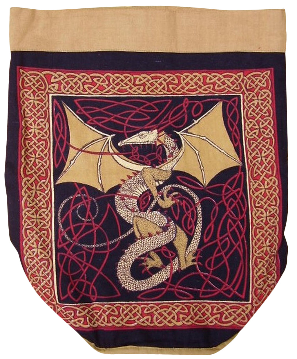 Celtic Dragon Backpack Sturdy Cotton 16 x 18 Red