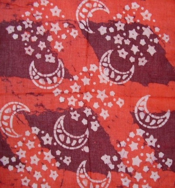 Cosmic Celestial Batik Scarf Soft Light Cotton 20 x 20 Red
