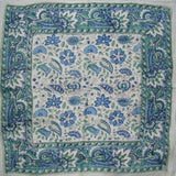 Floral Block Print Scarf Soft Light Cotton 20 x 20 Blue n Green