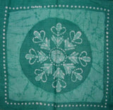 Cotton Batik Scarf Hanky Head Band 20 x 20 Green