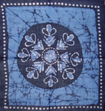 Cotton Batik Scarf Hanky Head Band 20 x 20 Blue