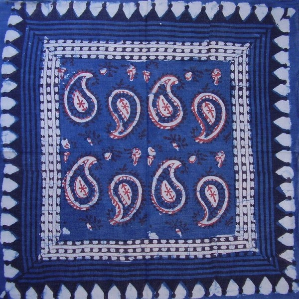 Veggie Dye Block Print Paisley Scarf Light Cotton 20 x 20 Indigo
