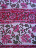 Floral Block Print Neck Scarf Light Cotton 72 x 15 Red & Pink