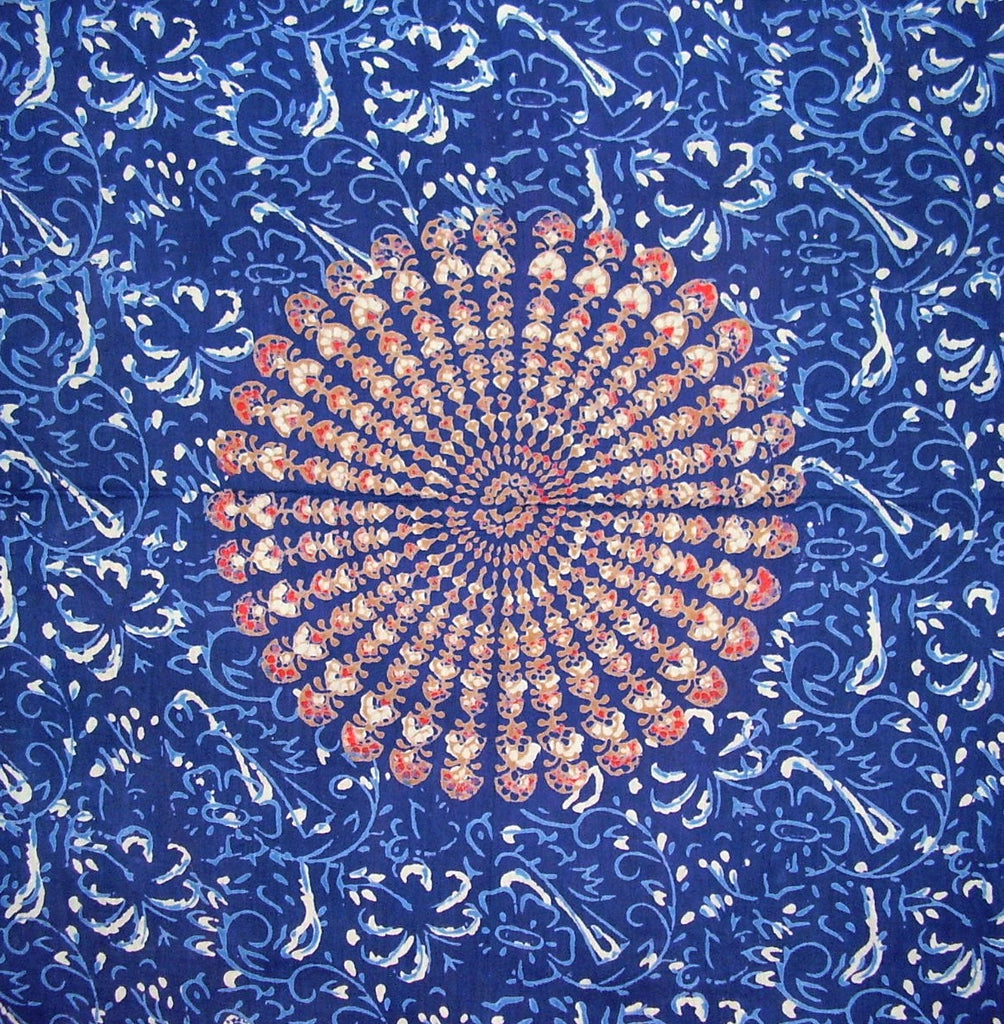 Sanganeer Block Print Scarf Soft Light Cotton 20 x 20 Blue