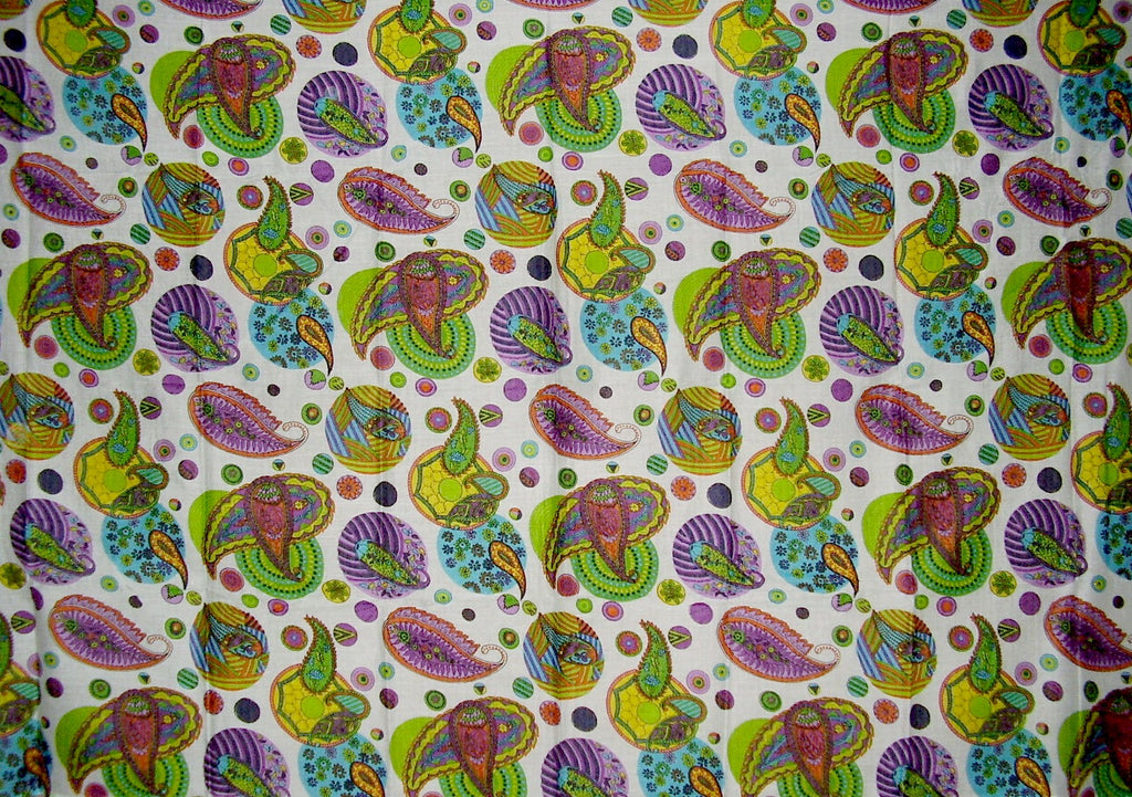 Psychedelic Paisley Scarf Wrap Shawl Cotton 72 x 42 White