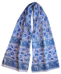 Floral Block Print Neck Scarf Light Cotton 72 x 15 Blue & Green