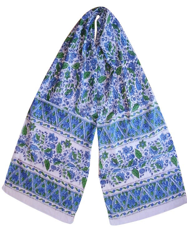 Floral Block Print Neck Scarf Soft Light Cotton 72 x 15 Blue & Green