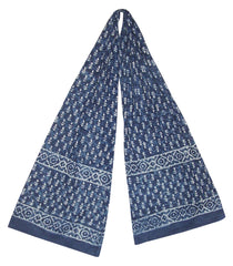 Indigo Blue Dabu Wax Batik Scarf Light Cotton 72 x 15