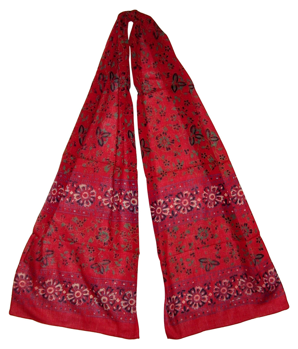Floral Block Print Neck Scarf Light Cotton 72 x 15 Red