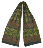 Floral Block Print Neck Scarf Light Cotton 72 x 15 Green