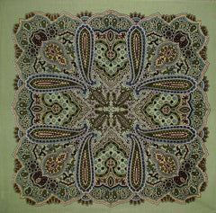"Cotton Paisley Head Scarf Bandana 22"" x 22"" Sage"