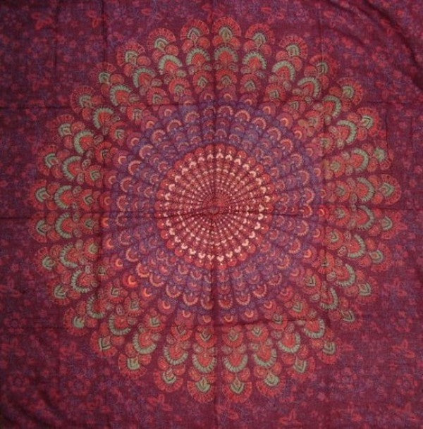 Sanganeer Block Print Scarf Soft Light Cotton 42 x 42 Burgundy