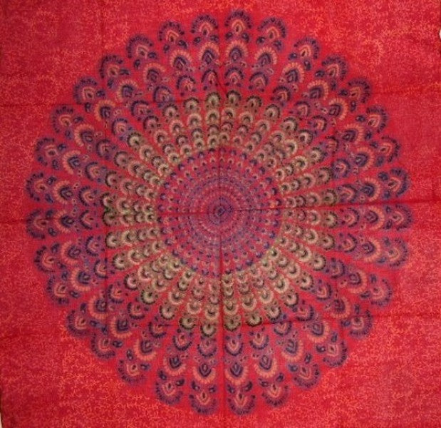 Sanganeer Block Print Scarf Soft Light Cotton 42 x 42 Red