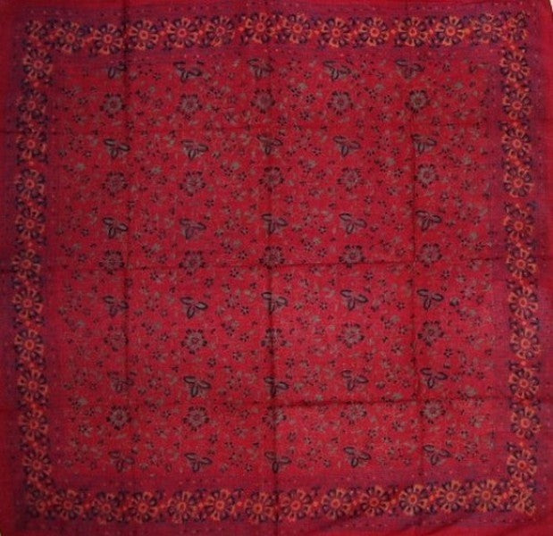 Floral Block Print Scarf Soft Light Cotton 42 x 42 Red