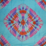 Handcrafted Cotton Tie Dye Scarf 42 x 42 Turquoise