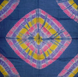 Handcrafted Cotton Tie Dye Scarf 42 x 42 Blue