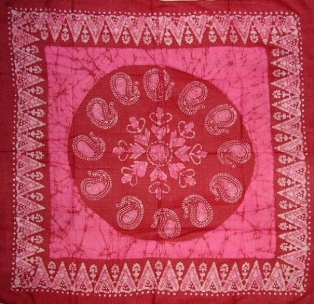 Cotton Batik Scarf Hanky Head Band 42 x 42 Pink