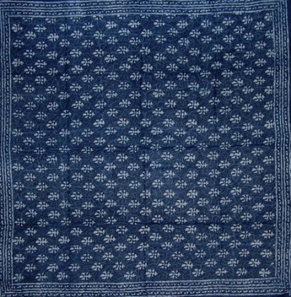 Indigo Blue Dabu Wax Batik Scarf Light Cotton 42 x 42