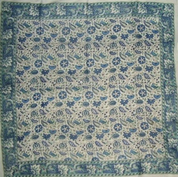 Floral Block Print Scarf Soft Light Cotton 42 x 42 Blue n Green