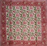 Floral Block Print Scarf Soft Light Cotton 42 x 42 Red n Pink