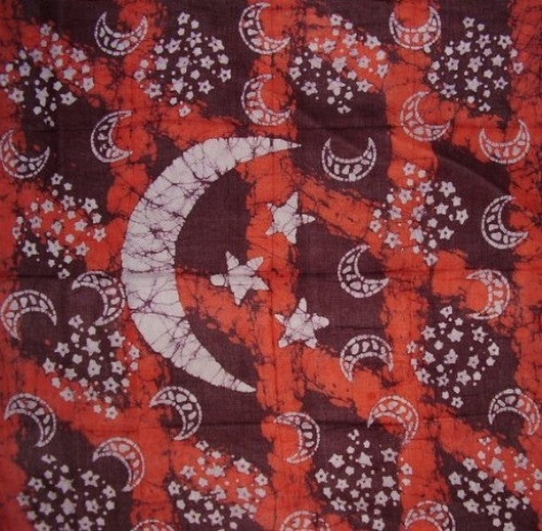 Cosmic Celestial Batik Scarf Soft Light Cotton 42 x 42 Red