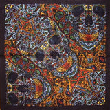 "3 D Psychedelic Skull Scarf or Hanky 22"" x 22"" Cotton"