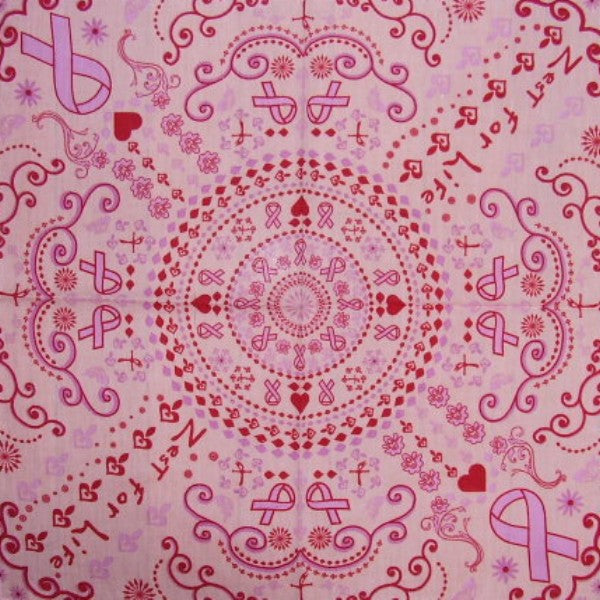 "Zest For Life Pink Ribbon Scarf or Hanky 22"" X 22"" Cotton"
