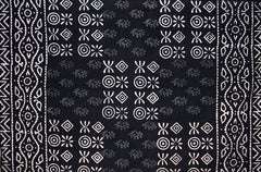 "Cotton Pillow Cover Veggie Dye Block Print 30"" x 20"" Basic Black"