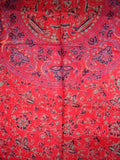 Block Printed Shawl Mandala 24 x 66 Fire Engine Red
