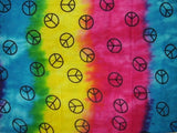 Tie Dye Peace Sign Long Neck Scarf Cotton 18 x 72 Turquoise