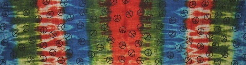Tie Dye Peace Sign Long Neck Scarf Cotton 18 x 72  Blue