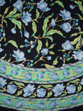 "French Floral Round Cotton Tablecloth 70"" Blue on Black"