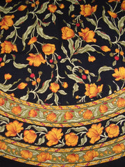 "French Floral Round Cotton Tablecloth 70"" Amber on Black"
