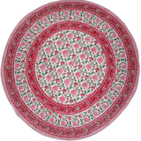"Pretty in Pink Block Print Round Cotton Tablecloth 68"" Pink"