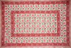 "Pretty in Pink Block Print Cotton Tablecloth 90"" x 60"" Pink"