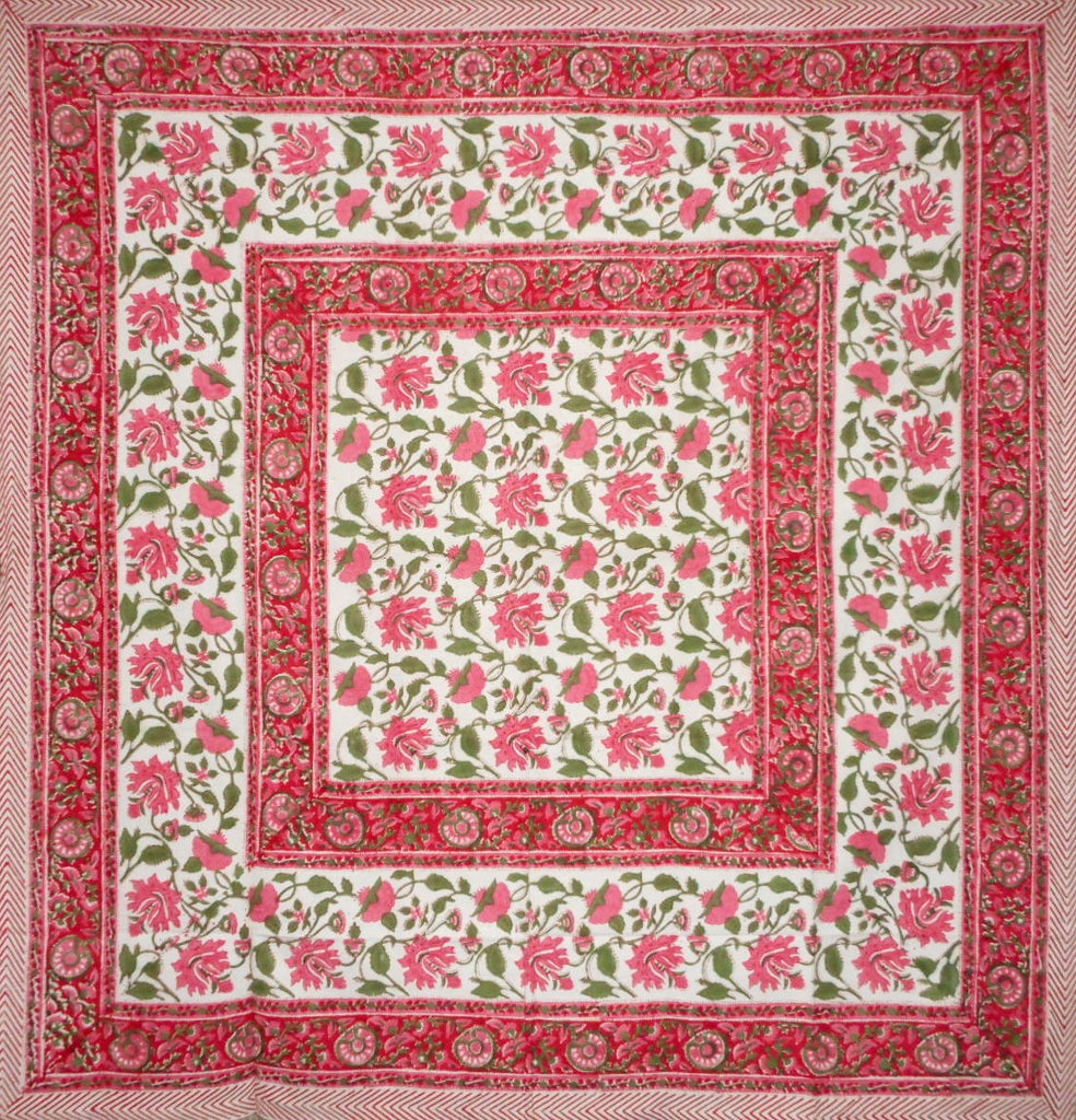 "Pretty in Pink Block Print Square Cotton Tablecloth 60"" x 60"" Pink"