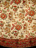 "Jaipur Block Print Round Cotton Tablecloth 72"" Autumn Colors"