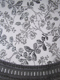 "Floral Round Cotton Tablecloth 88"" Gray on White"