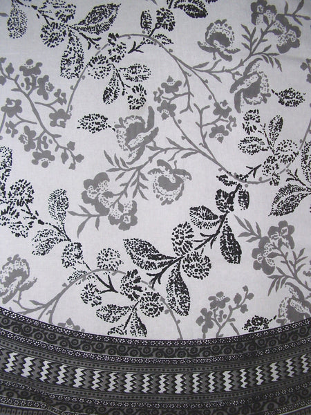 Floral Round Cotton Tablecloth 88 Quot Gray On White Full