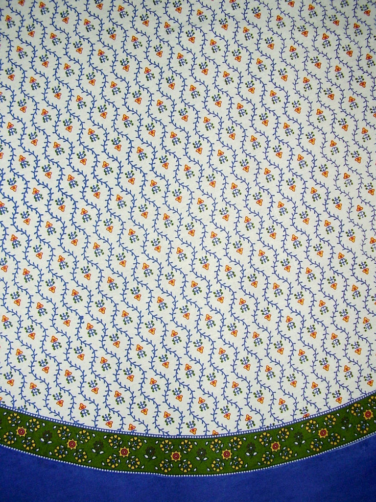 "Buti Print Round Cotton Tablecloth 68"" Blue"