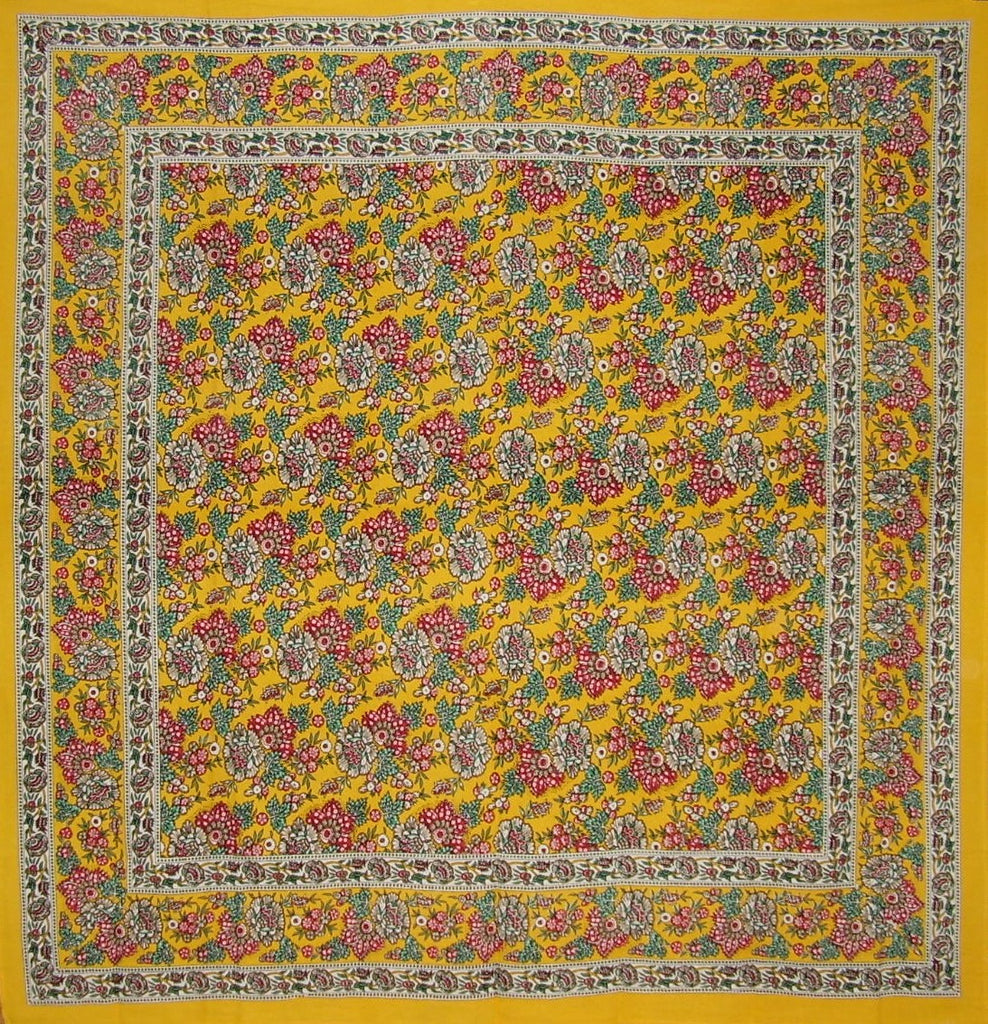 "Floral Print Square Cotton Tablecloth 70"" x 70"" Honey Yellow"