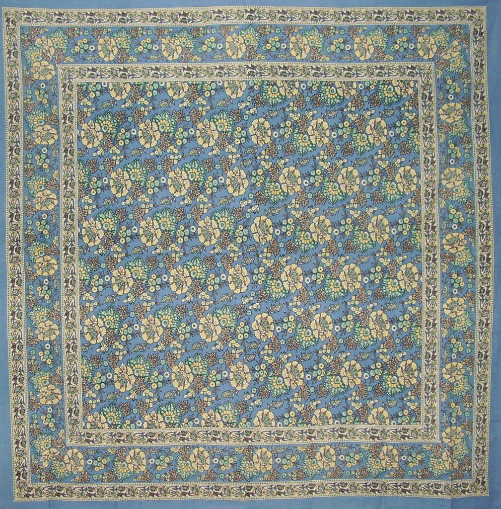 "Floral Print Square Cotton Tablecloth 70"" x 70"" Baby Blue"