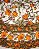 "French Floral Round Cotton Tablecloth 70"" Saffron"