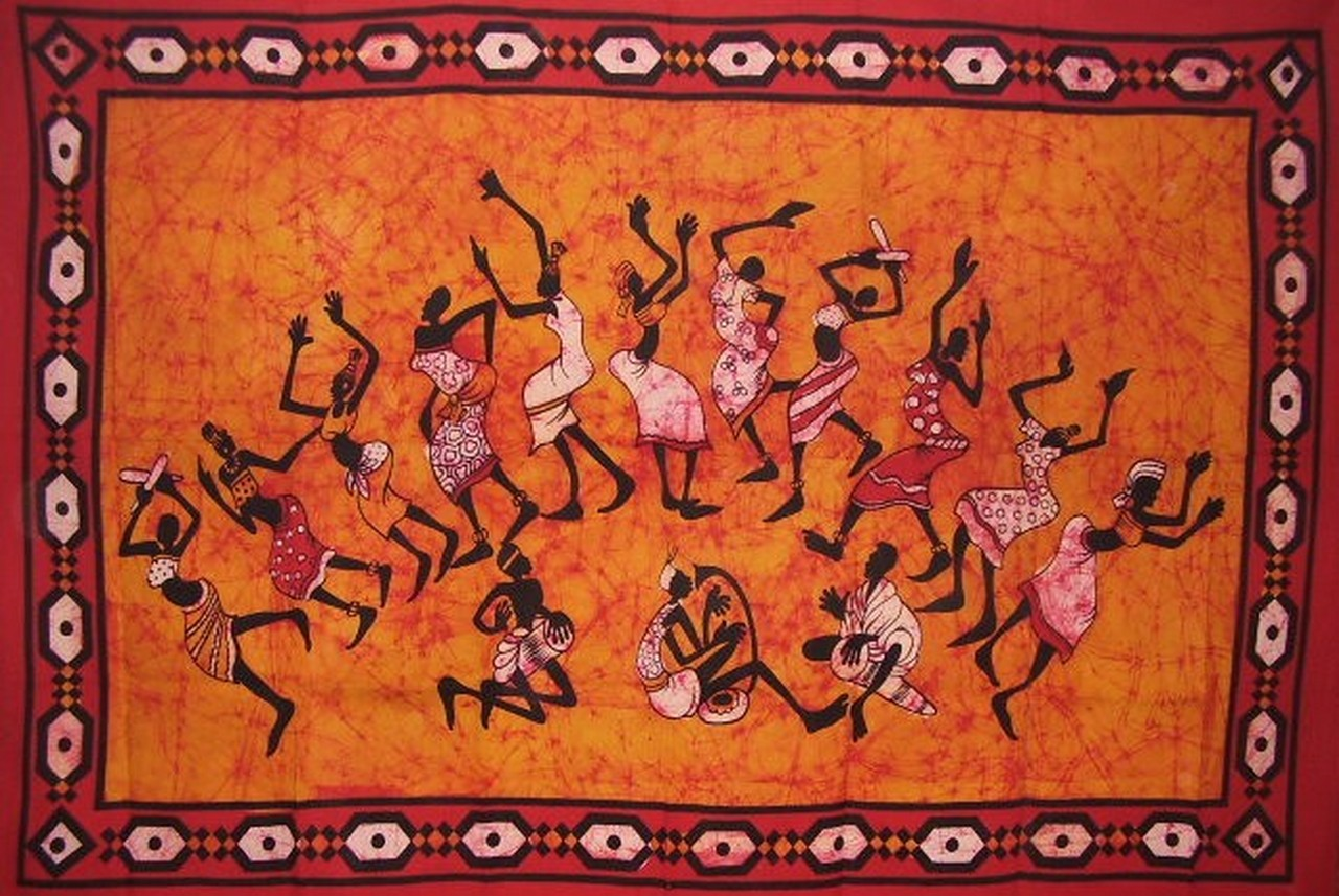 "Tribal Dance Tapestry Cotton Wall Hanging 85"" x 55"" Single Orange"