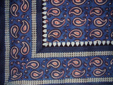 "Primitive Paisley Block Print Tapestry Cotton Bedspread 108"" x 108"" Queen-King"